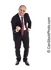 Yeah! - Businessman with dollar-sign glasses standing