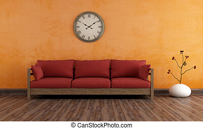 Old room with wooden couch against orange wall - rendering