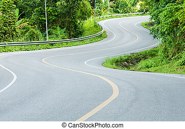 Road, S-shape - Road on mountain in country, S-shape