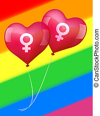 Balloons in lesbian love - Illustration of two heart shaped...