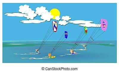 kite surfing  - group of friends kite surfing