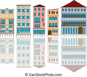 venice - Venice houses cartoon over white background