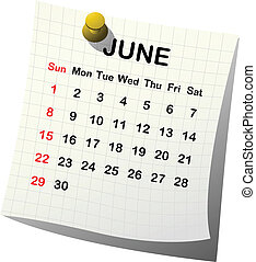 2014 paper calendar for June over white background