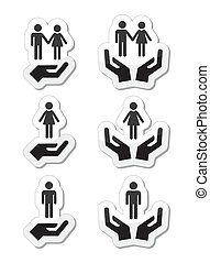 Man, woman and couples with hands i - Vector labels set of...