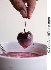 fresco, Cereza, yogur