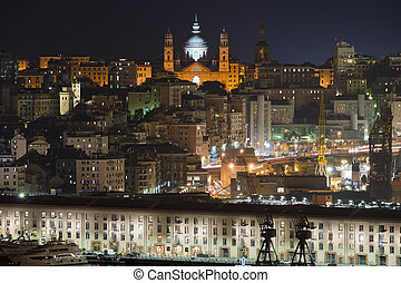 Cityscape of Genoa - View of the harbour of Genoa...