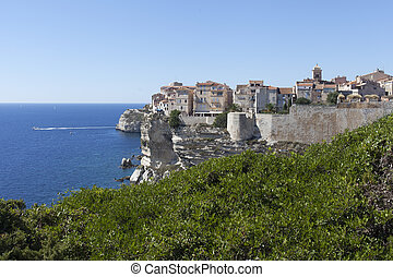 Bonifacio city, Corsica , France - Bonifacio city on cliffs,...