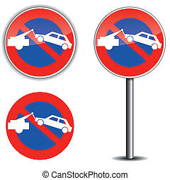 No park sign - vector illustration of no park sign on white...