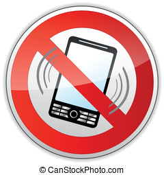 No phone sign - vector illustration of no phone sign on...