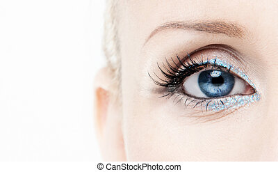 blue eye - Close view of woman eye shallow DOF