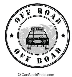 Off road stamp - Off road grunge rubber stamp on white,...
