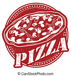 Pizza stamp - Pizza vintage sign on white background, vector...