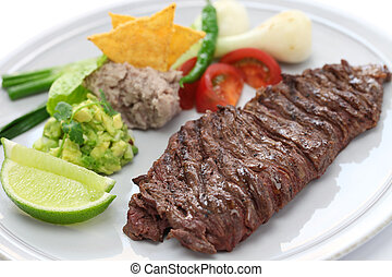 grilled skirt steak, mexican cuisin - arrachera, mexican...