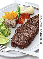 asado parrilla, filete, falda, mexicano,  cuisin