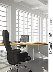 estilo, modernos, sótão, escritório