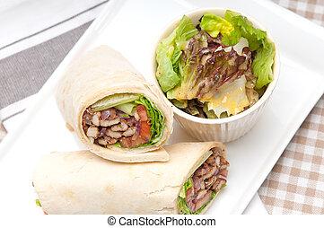 kafta, shawarma, galinha, pita, envoltório, rolo,...