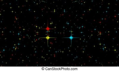Red green and blue stars motion background