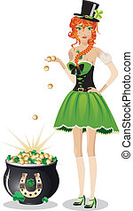Leprechaun girl with pot of gold - Beautiful red haired...