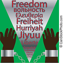 Freedom - The Chains of a slave being split by a steel wedge...