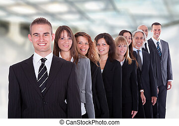 confiante, Grupo, negócio, pessoas
