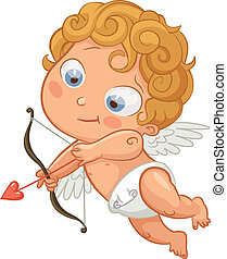 Happy Valentine's Day - Funny little cupid aiming at...