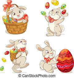 Happy Easter. Cute Easter bunny sitting in a basket,...