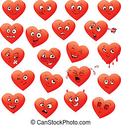 Valentines set of heart emotions calm, resentful, playful,...