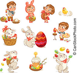 Happy Easter Cute Easter bunny sitting in a basket, juggling...