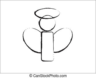 B & W Angel Design - simple design of a B & W angel