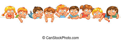 Cute little kids over a white background Show a blank poster...