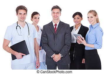 Group Of Businesspeople And Doctors - Happy Group Of...