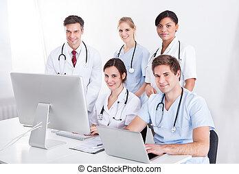 médico, Grupo, hospitalar, doutores
