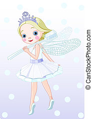 toothfairy with toothbrush - Cute smiling toothfairy with...