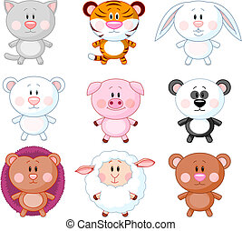 Animals set A - Cute animals cartoon set Vector