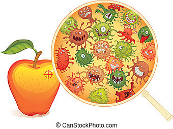 Dirty fruit, under the microscope