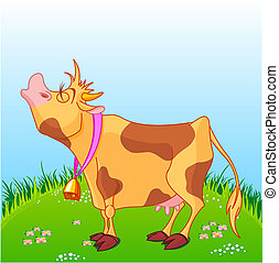 Cartoon Cow - Vector illustration of cute cow at sunny...