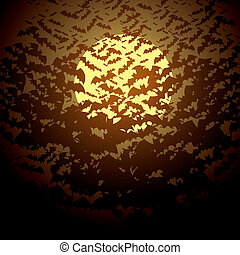 Moon and bats. Vector illustration. Halloween background