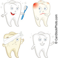 Funny tooth with toothbrush. Caries. Toothache. Vector...