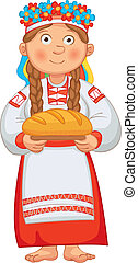 Ukrainian girl meets honored guests with bread and salt....