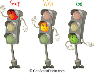 Traffic light. Follow the rules of the road. Rules for...