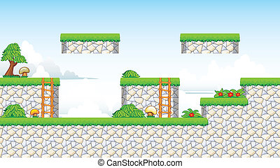 2D Tileset Platform Game - A set of vector game contains...