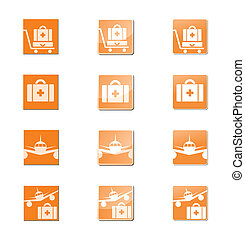 travel insurance set of icons, orange