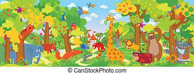 Cute zoo animals Vector illustration
