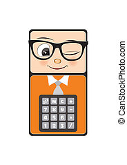 mascot calculator, geek, with glasses, isolated on the white...