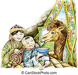 Sick boy and a camel - Sick mongolian boy and camel Sick...