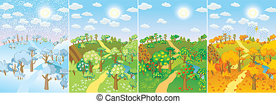 Four seasons. Concept of life cycle in nature. Images of...