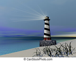 BEACON - A lighthouse sends out a light to warn vessels