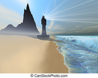 COASTLINE - Waves and mist come to shore on this beautiful...