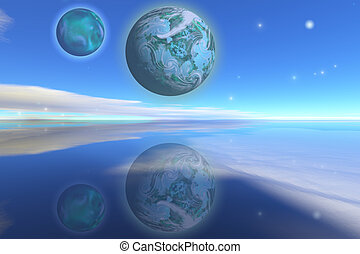 EMERALDO - Nearby planets hover over the ocean on this world...