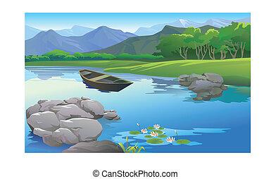 beautiful landscape in the lake cartoon
